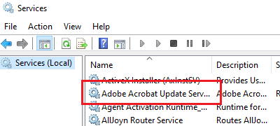 Servicio de actualización de Adobe Acrobat