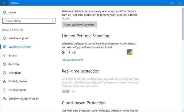 configurar Windows Defender en Windows 10