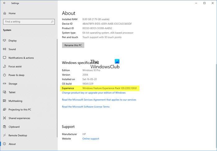 Paquete de experiencia de características de Windows