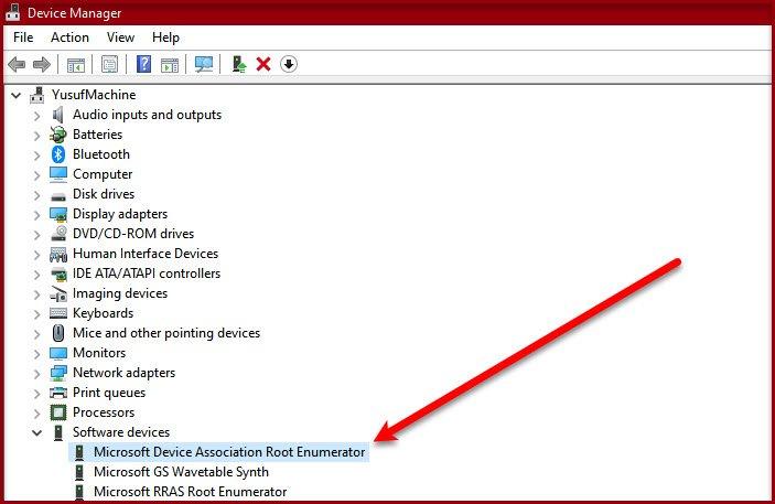 Enumerador raíz de asociación de dispositivos de Microsoft