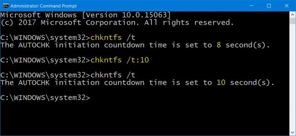 Reducir el tiempo de cuenta atrás de ChkDsk en Windows 10