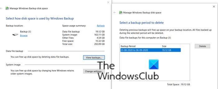 Administrar copias de seguridad Copia de seguridad de Windows