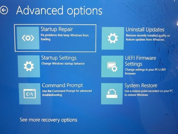 Reparación de inicio de Windows 10