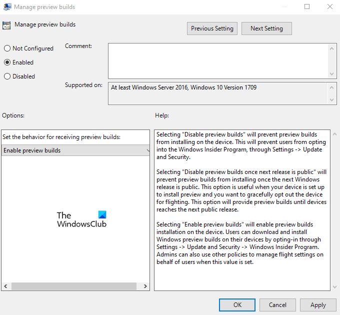 Deshabilitar la configuración del programa Windows Insider en Windows 10
