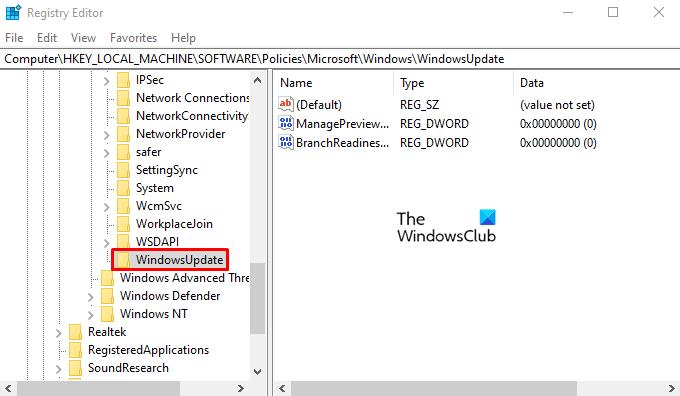 Deshabilitar la configuración del programa Windows Insider