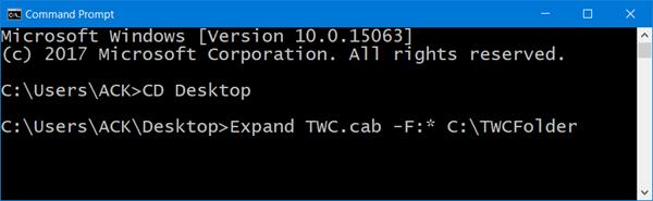 extraer el archivo CAB usando la línea de comando