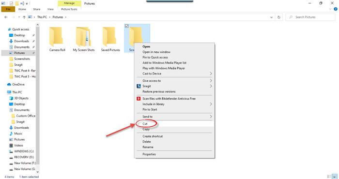 Cómo mover archivos o carpetas en Windows 10