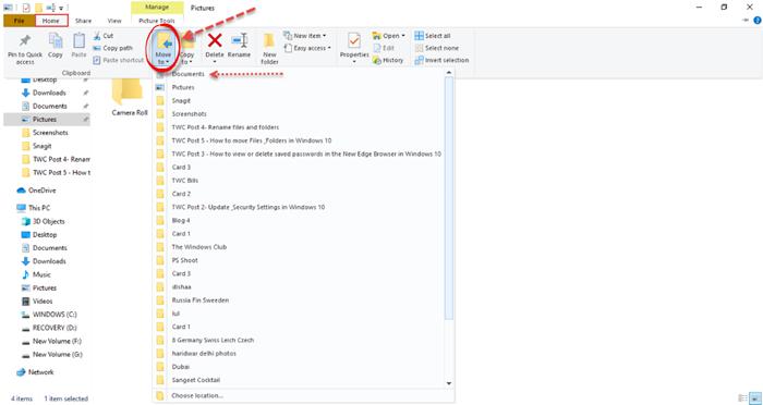 Cómo mover archivos y carpetas en Windows 10