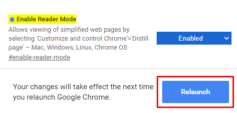 Habilitar o deshabilitar el modo de lectura en Chrome a través de la bandera