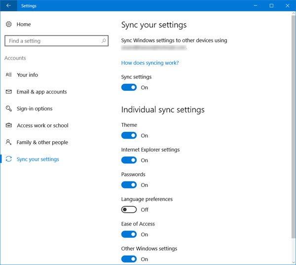 sincronizar la configuración en Windows 10