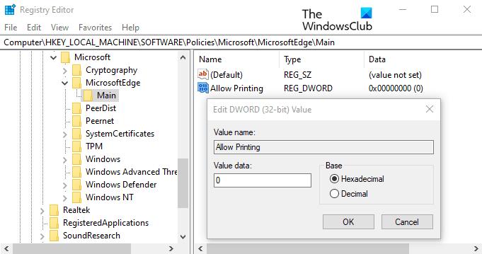 Imprimir en Microsoft Edge en Windows 10
