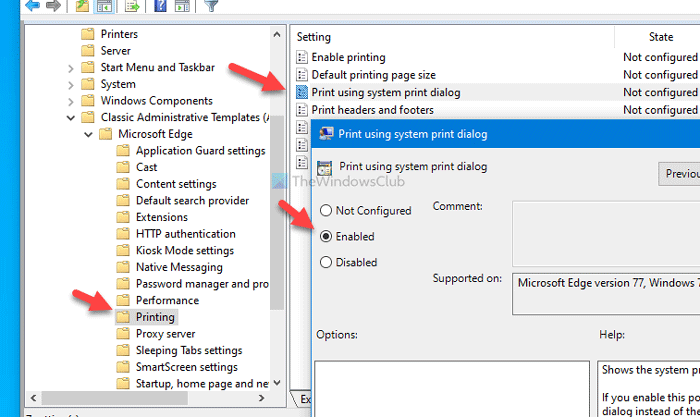 Cómo habilitar o deshabilitar el cuadro de diálogo de impresión del sistema en Edge