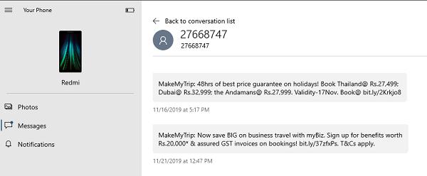 SMS Acceda a la aplicación YourPhone Windows 10