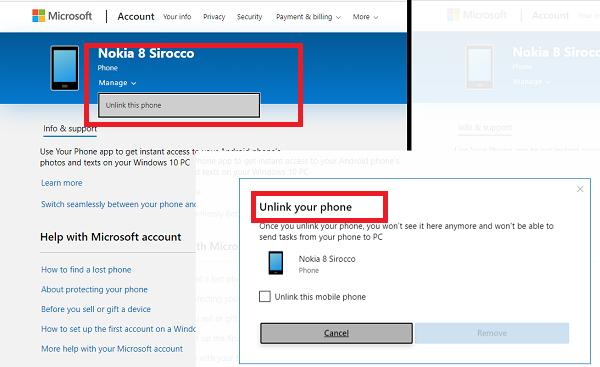 Desvincular el teléfono de la cuenta Microsoft de Windows 10