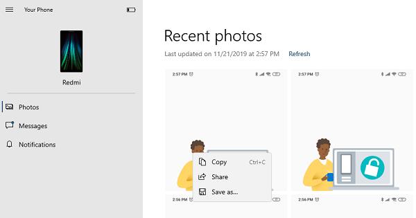 Acceder a la aplicación Share Photos Your Phone
