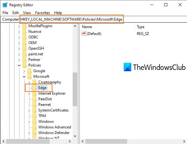 acceder a la clave de registro de Edge