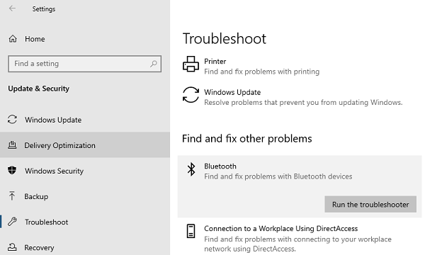 Solucionador de problemas de Bluetooth de Windows 10