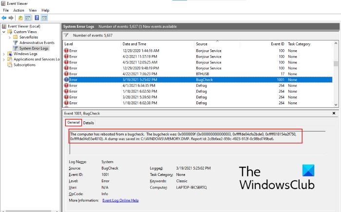 Ubicación del archivo de registro BSOD de Windows 10