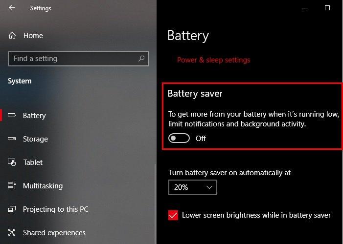 Habilitar o deshabilitar el ahorro de batería en Windows 10