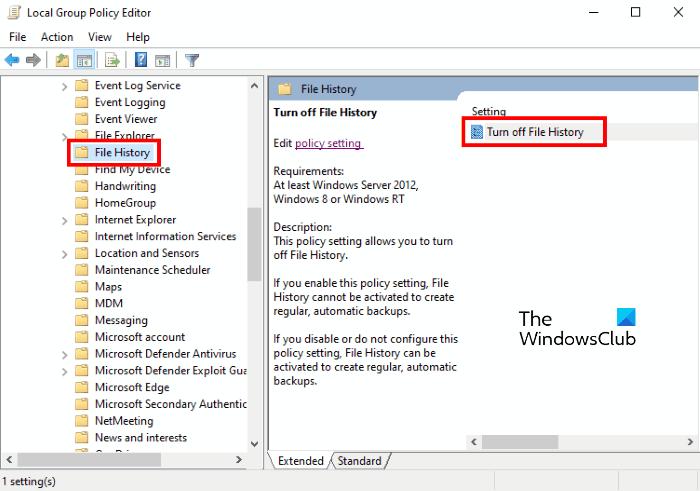 deshabilitar el editor de políticas de grupo de historial de archivos