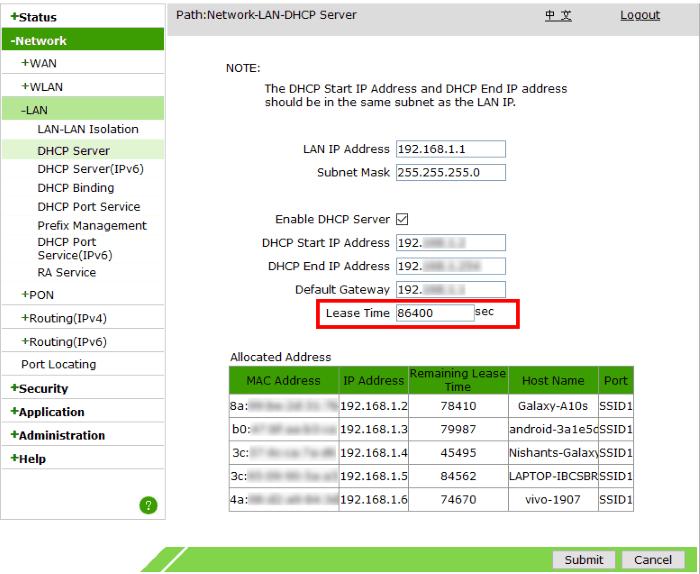 cambiar las ventanas de tiempo de arrendamiento de DHCP 10