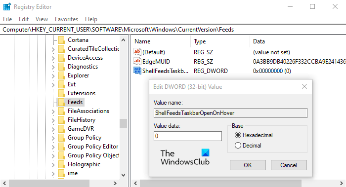 Habilitar o deshabilitar noticias e intereses abiertos al pasar el mouse en Windows 10