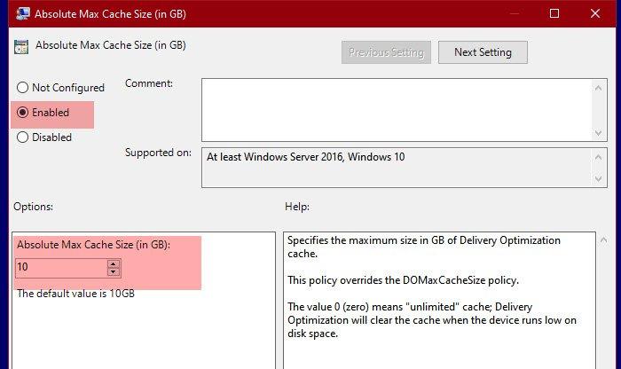 Cambiar el tamaño máximo de caché de optimización de entrega para actualizaciones en Windows 10
