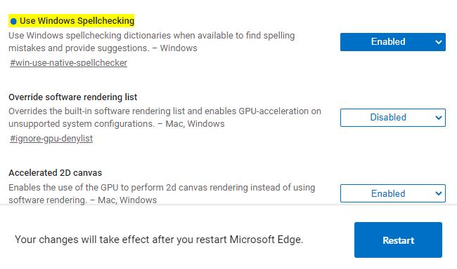 Habilitar el corrector ortográfico de Windows en Microsoft Edge
