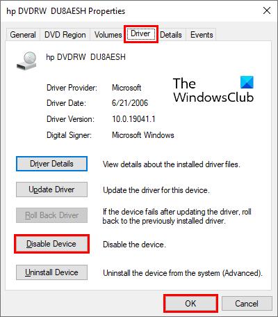 deshabilitar la unidad de cd-dvd