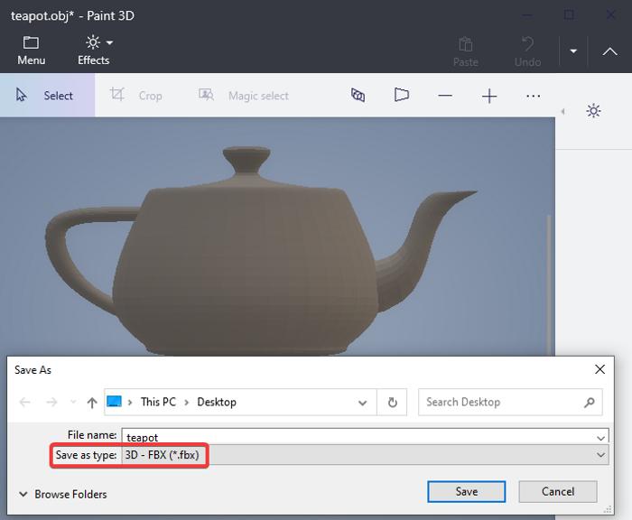 Convierta OBJ a FBX usando Paint 3D