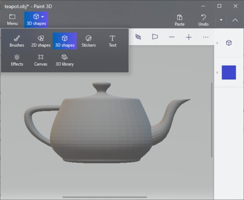 Convierta OBJ a FBX usando la aplicación Paint 3D