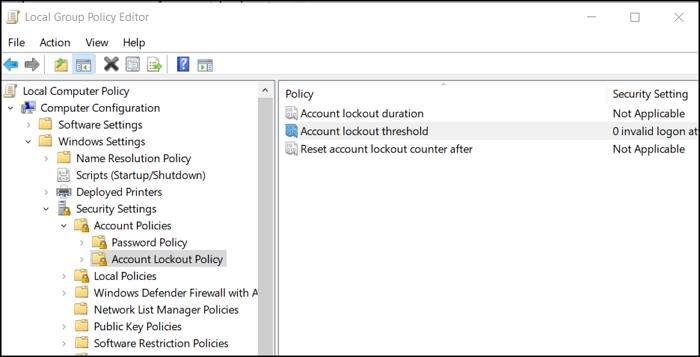 Política de bloqueo de cuenta Windows