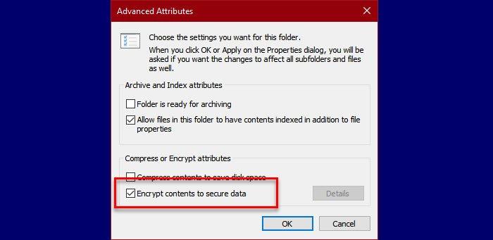 Se produjo un error al aplicar atributos al archivo en Windows 10