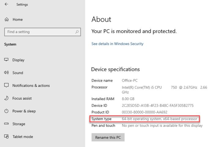 Tipo de sistema Windows 10 PC