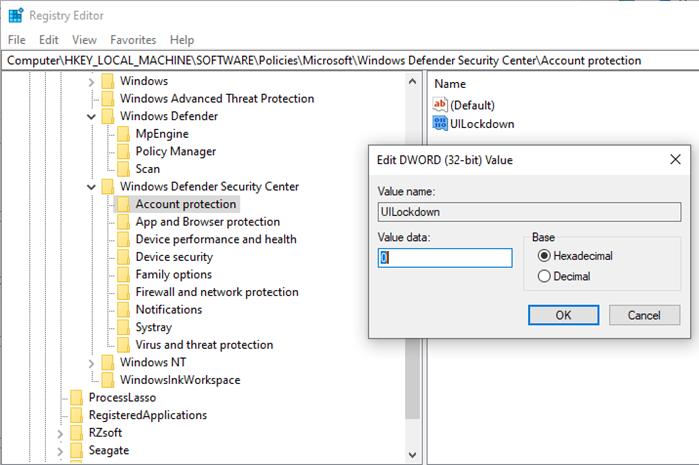 Configuración del registro para el acceso de seguridad de Windows