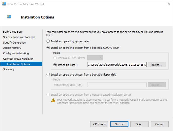 Fuente de Hyper-V ISO Windows