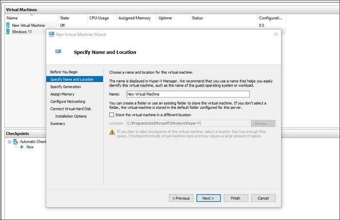 Ubicación de VHD virtual Windows Hyper-V