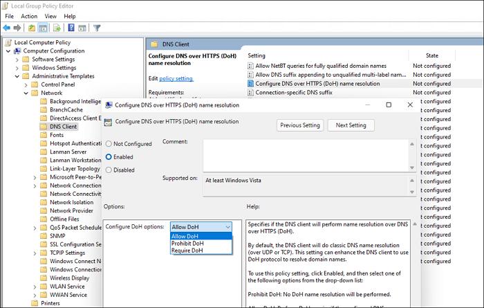 Habilite DoH a través de la política de grupo en Windows 11