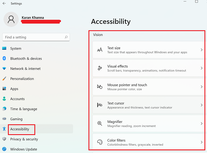 Configuración de accesibilidad para ciegos en Windows 11