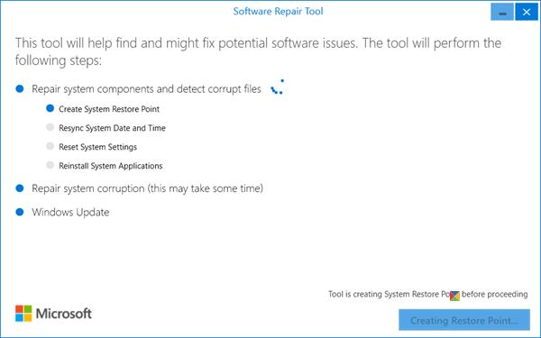 Herramienta de reparación de software de Windows