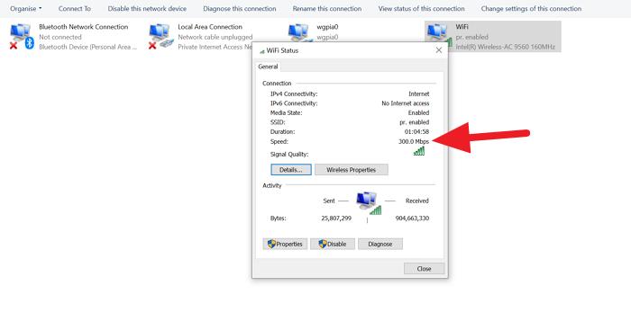 Cómo verificar la velocidad del adaptador de red en Windows 10