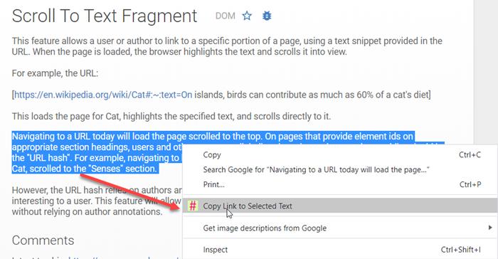 Enlace a la extensión de Chrome Fragmento de texto