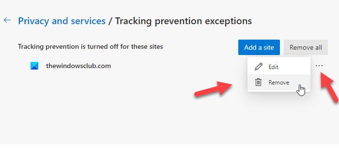 Cómo eliminar sitios de las excepciones de prevención de seguimiento en Microsoft Edge
