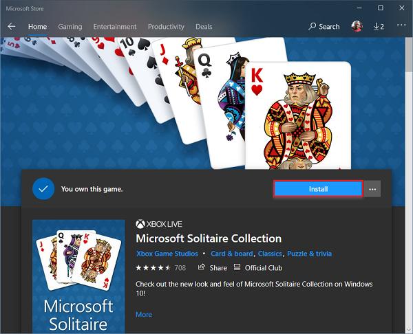 Microsoft Solitaire Collection no se abre