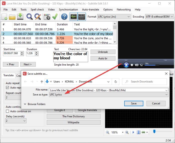 Cómo crear un archivo LRC en Windows