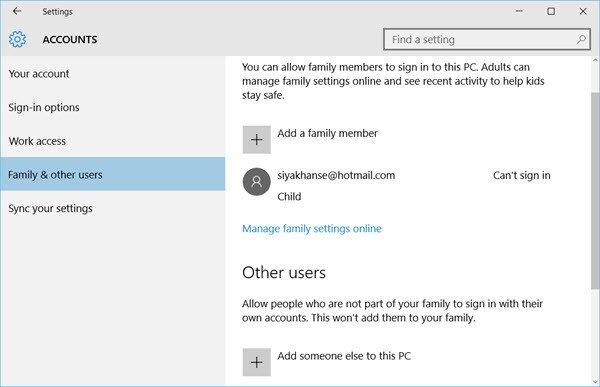 Admin, estándar, trabajo, escuela, niño, cuenta de invitado en Windows 10