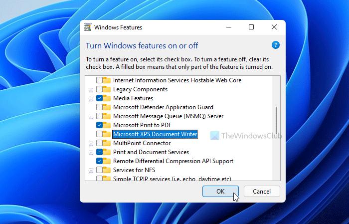 Cómo agregar o quitar la impresora Microsoft XPS Document Writer en Windows 11/10