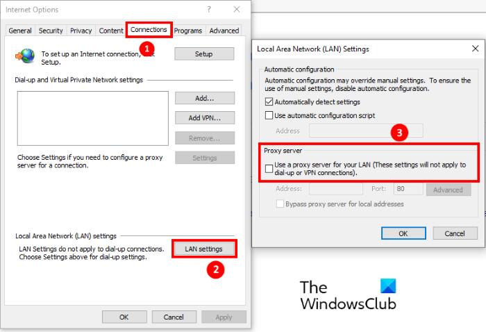 deshabilitar la configuración del proxy Internet Explorer