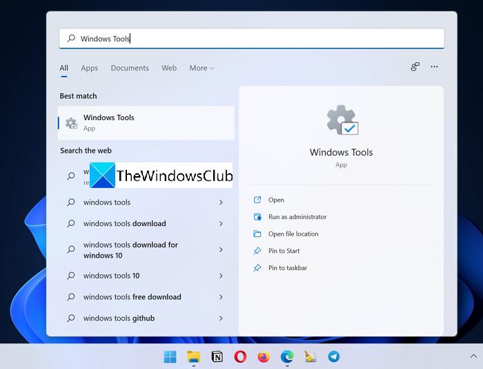 Búsqueda de herramientas de Windows