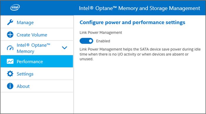 Gestión de almacenamiento y memoria Intel Optane